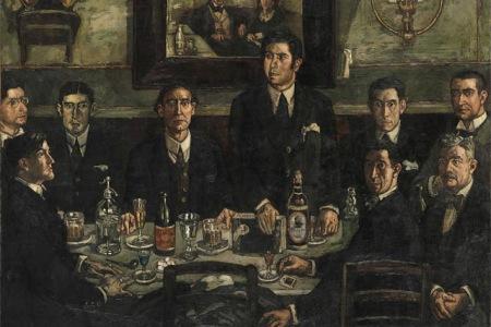 """En el célebre cuadro de José Gutiérrez Solana """"La tertulia del café de Pombo"""" aparece Tomás Borrás acompañando a Ramón Gómez de la Serna. Borrás está en el extremo izquierdo, con gafas."""